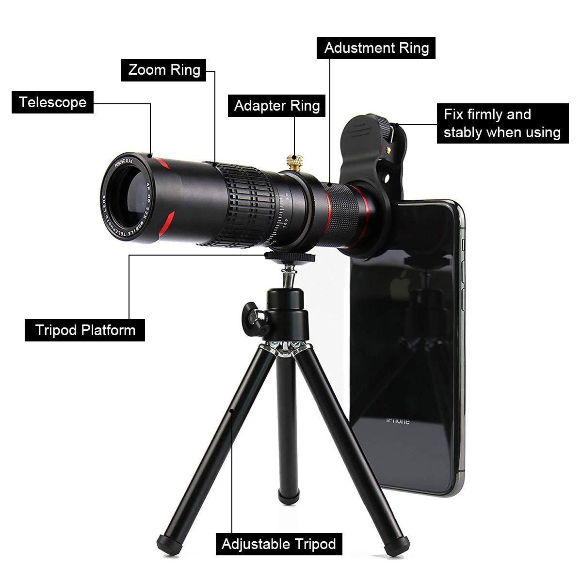 Cell Phone Camera Lens,Phone Photography Kit-Flexible Phone Tripod +Remote Shutter +4 in 1 Lens Kit-High Power 22X Monocular Telephoto Lens, Fisheye, Macro & Wide Angle Lens for Smartphone (Black) by Bamoer (Image #2)