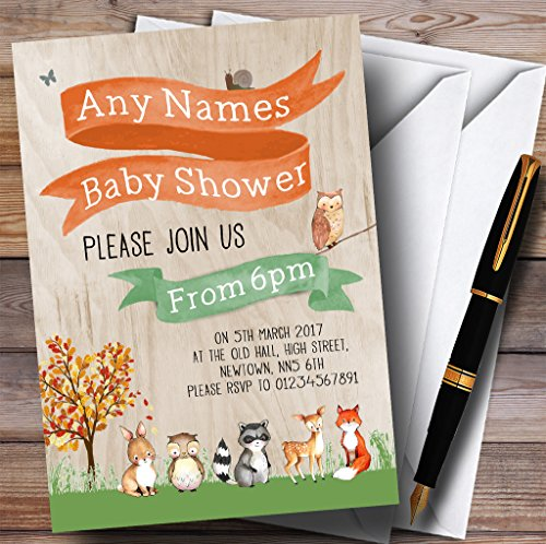 Woodland Forest Animals Fox Invitations Baby Shower Invitations by The Card Zoo