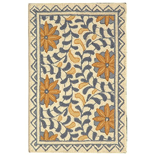 "Safavieh Chelsea Collection HK150A Hand-Hooked Ivory and Blue Premium Wool Area Rug (1'8"" x 2'6"")"