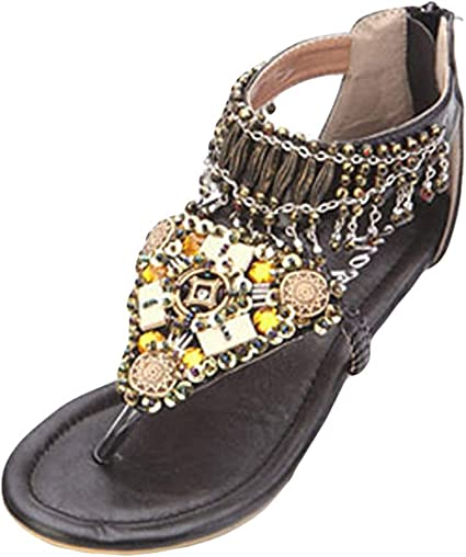 Tuoup Jeweled Beaded Leather Sandals for Girls Kids Outdoor Sandles