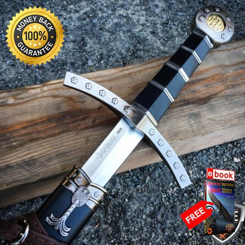 23'' King Arthur Excalibur Crusader Medieval Sword Scabbard Historical Fantasy For Hunting Tactical Camping Cosplay + eBOOK by MOON KNIVES