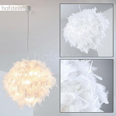 Élégante suspension Skaulo métal/tissu/plastique blanc - Plafonnier pour chambres - Séjour - Salle à manger - Culot E27