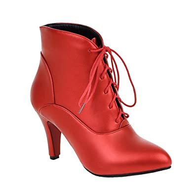 SHOWHOW Damen Sexy Spitz High Heels Knöchelhohe Stiefelette Mit Absatz Rot 42 EU OGW7uP4XD