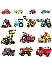 14pcs Bus/voiture de course/camion de pompiers/voiture Patch thermocollant ou coudre Applique pour enfants DIY Crafts Jeans Vêtements pour homme Sac à dos Écharpe