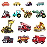 14pcs Bus/Racing car/Fire Truck/Car Patch Iron-on Or Sew-on Applique for Kids DIY Crafts Jeans Clothing Jacket Backpack Scarf