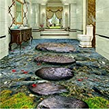Mznm Custom 3D Wallpaper Floor Stone Creek River Water Bath 3D Floor Tile Ceramic Tile Self Adhesive 3D Wallpaper Flooring