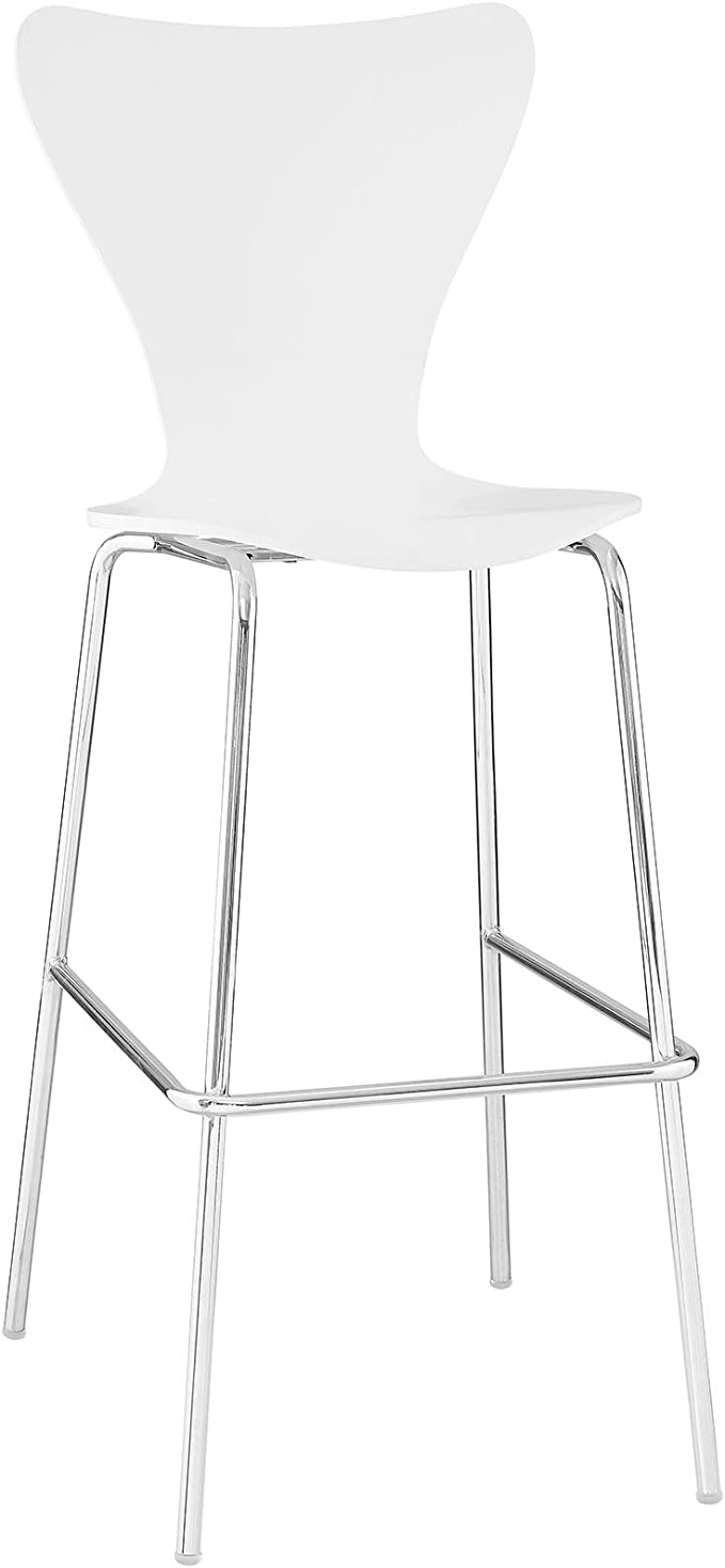Modway Ernie Mid Century Modern Wood Bar Stool In White Furniture Decor Amazon Com