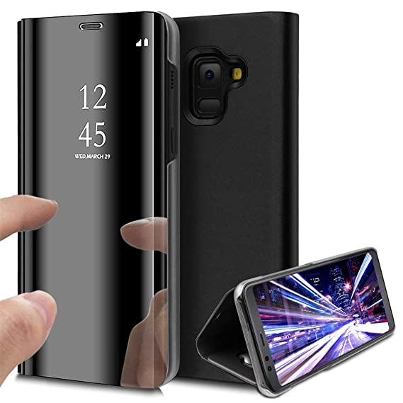 premium selection 19098 e1ce3 Samsung J8 2018 Case, COTDINFORCA Mirror Design Clear View Flip Bookstyle  Luxury Protecter Shell With Kickstand Case Cover for Samsung Galaxy J8 2018  ...