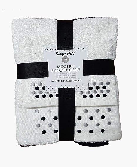 SELECT-ED® Luxuries - Juego de 4 toallas de baño bordadas 100% algodón