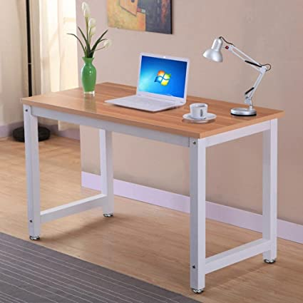 Topeakmart Computer Desk Modern Design Laptop PC Table Rectangular Writing  Table Study Home Office Workstation Furniture Brown