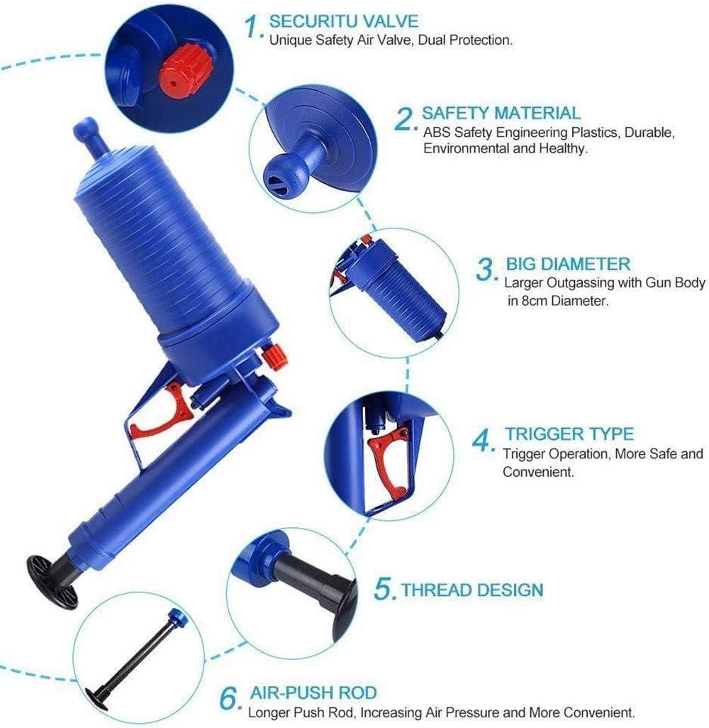 LOHOX D/éboucheur Canalisation /à Air Comprim/é Nettoyage Outil de Piston de Toilette Pompe Haute Pression avec 4 diff/érentes Ventouses pour D/ébouche Evier Cuisine Baignoire et Toilette