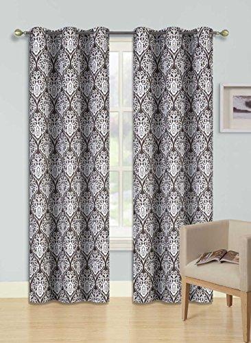 GorgeousHomeLinen (F'S) 1 Panel 2 Tone Printed Design Room Darkening Thermal Blackout Window Curtain 63