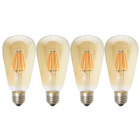 4 X 6W ST64 E27 LED Edison Bombilla, ST64 regulable LED,de Luz Cálida