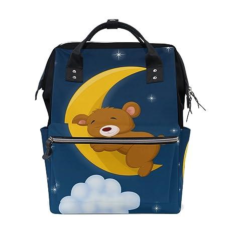 COOSUN - Mochila de viaje con diseño de oso para dormir en la luna
