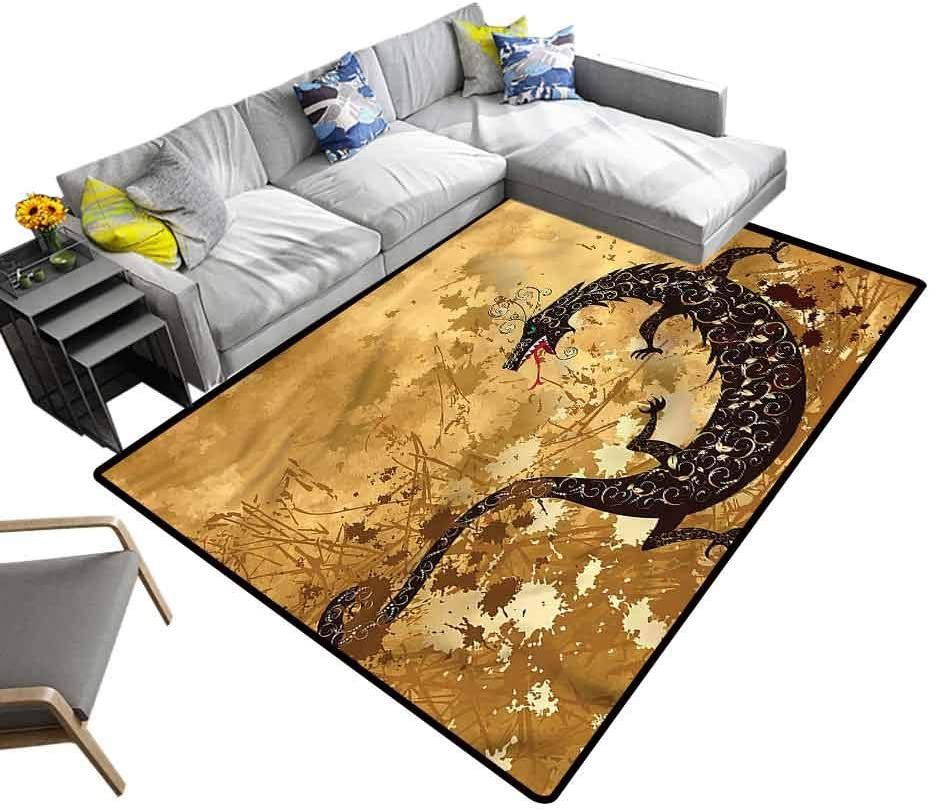 Dragon, Cute Rug Grunge Floral Ancient Rectangle Ultra Soft Area Rugs Non Slip Rubber Backing, 3'x 5'