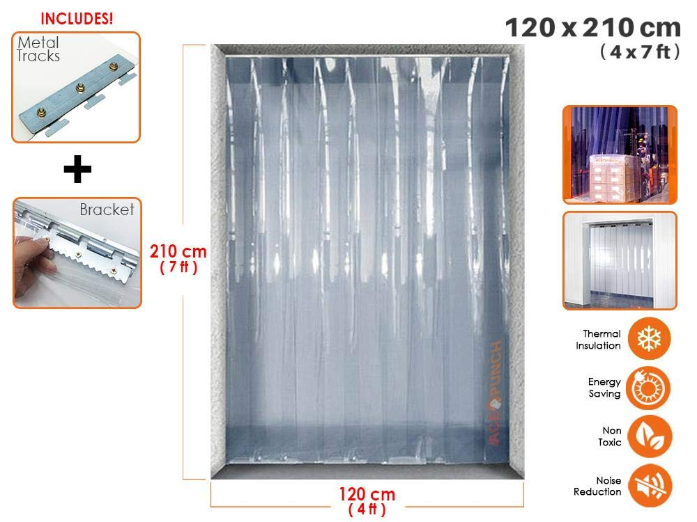 Acepunch PVC Plastic Strip Curtain 120cm x 210cm (4 x 7 ft.) Set for Walk in Freezers, Warehouse Doors and Clean Rooms AP1173