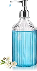 Soap Dispenser,18Oz Clear Glass Soap Dispenser with Nozzle Clamp and Rust Proof Pump, Refillable Wash Hand Liquid,Dish Detergent,Essential Oils, Ideal for Bathroom Countertop, Kitchen, Office