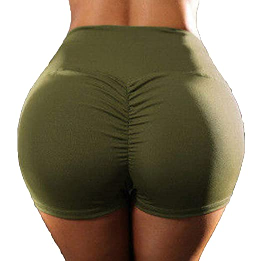 33eede00a9 Amazon.com: RIOJOY Scrunch Yoga Shorts for Women Fitness High Waist Ruched Butt  Push Up Gym Running Sports Tummy Control Sportwear: Clothing