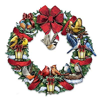 Merry Melodies Lighted Songbird Wreath Plays Medley Of Christmas Carols by The Bradford Exchange