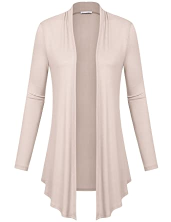 Messic Womens Open Front Long Sleeve Drape Hem Lightweight ...