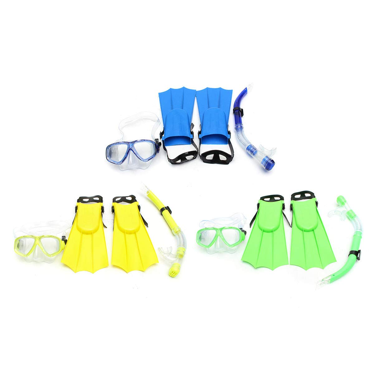 Shop Sport Kid Snorkel Mask Scuba Goggles + Breathing Tube+ Webbed Feet Swimming Diving Set - Yellow by Shop Sport (Image #3)
