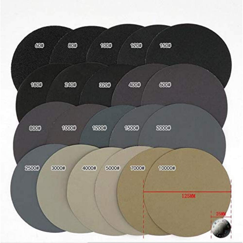 FANLLOOD Round Sandpaper 20 PCS 5Inch 125mm Waterproof Sanding Discs Hook & Loop Sandpaper Wet/Dry 80-10000 Grit for Polishing Grit 2500