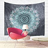 Dengyue Tapestry Wall Hanging Bohemian Mandala Indian Hippie Design Home Decor for Bedroom Living Room, 80'' L x 60'' W, Light Blue/Grey