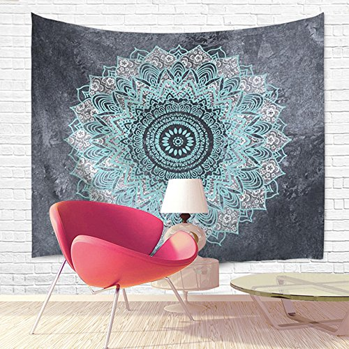 Tapestry Wall Hanging Bohemian Mandala Indian Hippie Design Home Decor for Bedroom Living Room Light Blue and Grey 80 x 60 inches (Where To Buy Tapestry Wall Hangings)