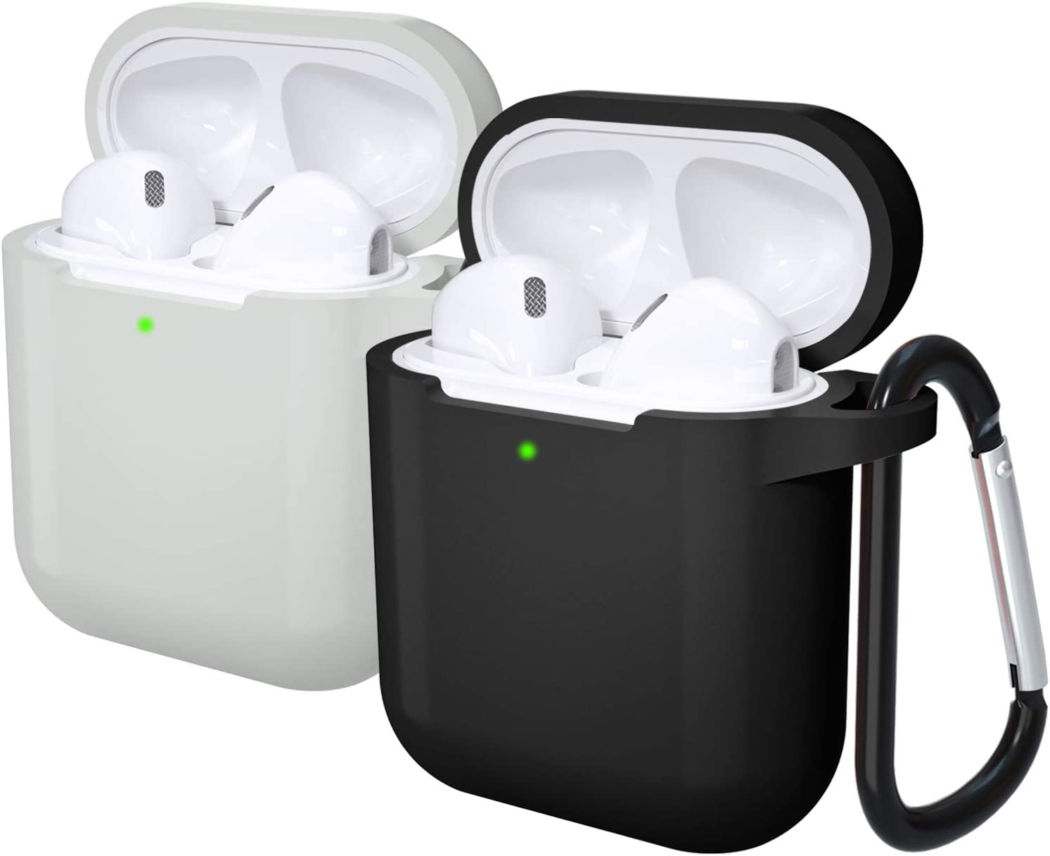 Laffav Airpods Case, Soft Silicone Protective Shockproof Wireless Charging Airpods Earbuds Case Cover Skin with Keychain kit Set for Apple AirPods 1 & 2 (Front LED Visible), 2 Pack, Black, Gray