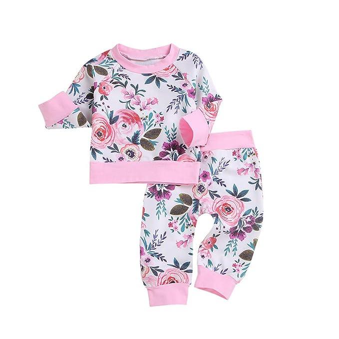 Mitlfuny Invierno Caliente Camisetas Sudaderas de Manga Larga Bebé Niña Florales Impresión Interiores Ropa Cuello Redondo