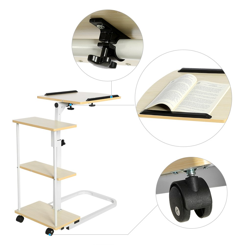 Overbed Computer Table, Multi-Function Height Adjustable Overbed Table Sofa Side Table Mobile Laptop Cart Computer Desk with Wheels by Yosoo (Image #3)
