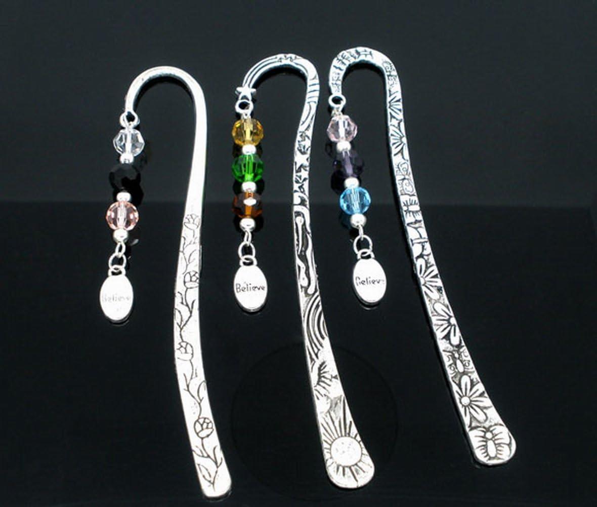 Housweety Silver Tone Bookmarks W//CrystalBelieve Dangle Bead 123mm 4 6//8Inch 3PCs