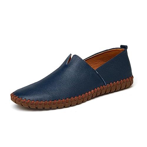 Mens ConduccióN Zapatos Mocasines De Cuero Genuino Zapatos Moda Artesanal Suave Transpirable Mocasines Pisos Deslizarse En Los Zapatos: Amazon.es: Zapatos y ...