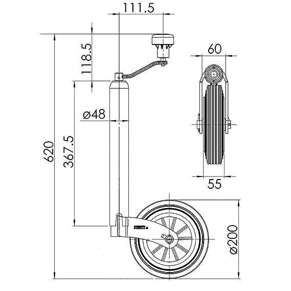 Kartt KJW4807 48mm Auto Lift Jockey Wheel Solid Rubber Tyre