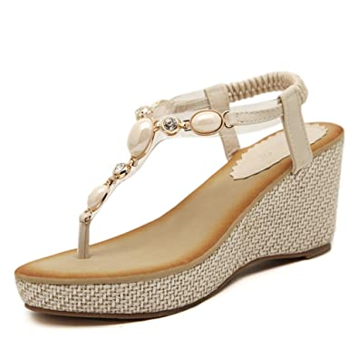 2478548fa Tuoup Womens Summer Jeweled Thong Wedge Sandals Sandles Beige 36 5.5 D(M) US