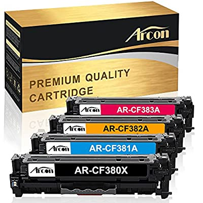Arcon 4Packs 305X CE410X Compatible for HP 305X CE410X 305A CE410A 312X 312A CF380X CF380A Toner for HP Laserjet Pro 400 Color M451dn M451nw M475dn HP Laserjet Pro MFP M476nw M476dn M476dw M375nw