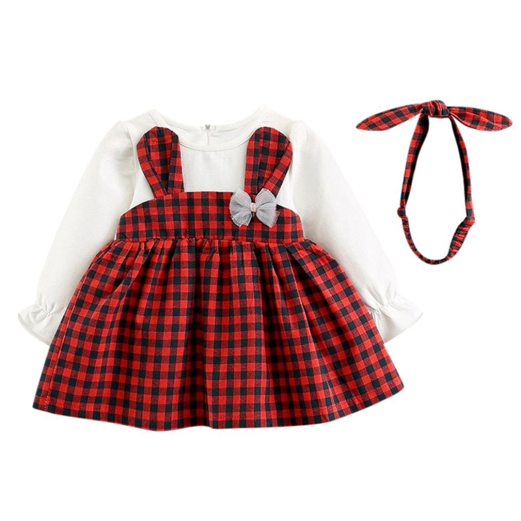 Dinlong Baby Girls Long Sleeve Plaid Checked Party Princess Dress Rabbit Print+Headband Outfits (0-6 Month, Red)