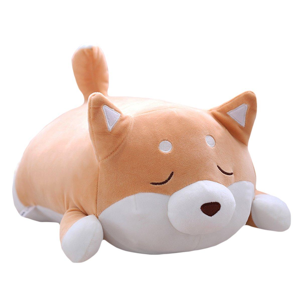 Cute Corgi Akita Stuffed Animals Doll Toy Gifts for Valentines Gift Christmas,Sofa Chair Brown Round Eye Levenkeness Shiba Inu Dog Plush Pillow 15
