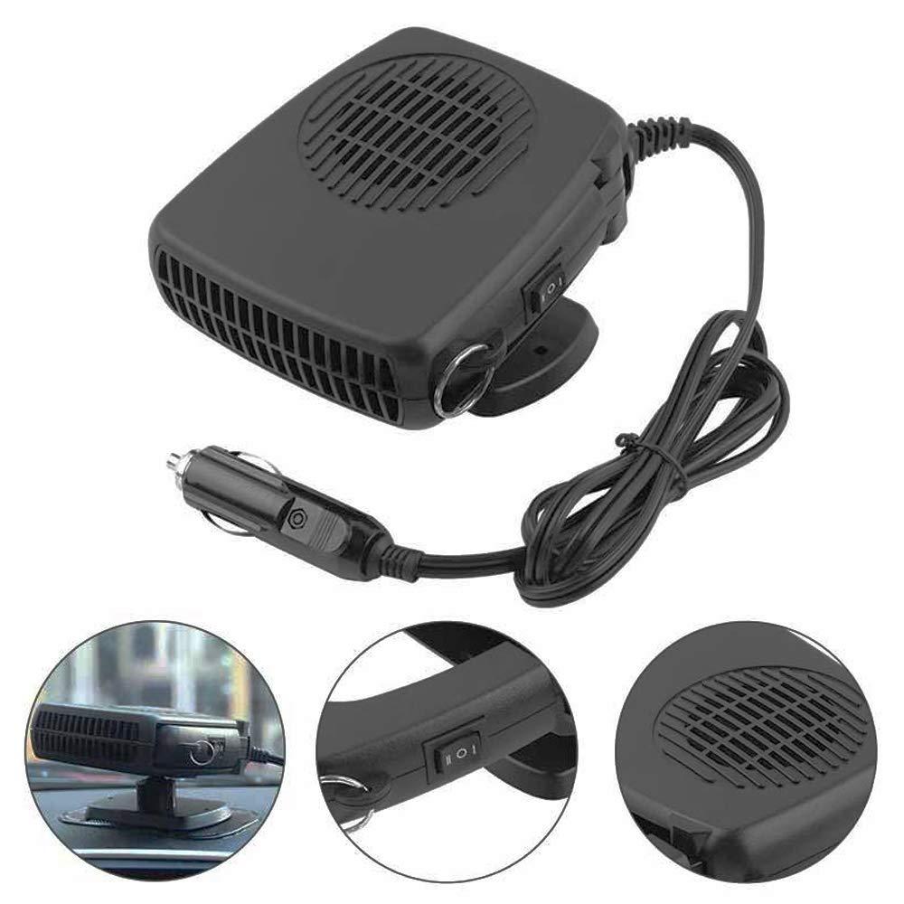 WANYIG Calefactor para Coche 12V Portátil, Calefactor con Ventilador 150W Calentador con Ventilador de Frío / Calo para Coche Con 360 ° Ajustable y Cable ...