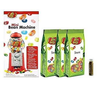 Jarosas Gift Set of Jelly Belly Mini Bean Dispenser Machine & Sours Jelly Beans Gift Bags