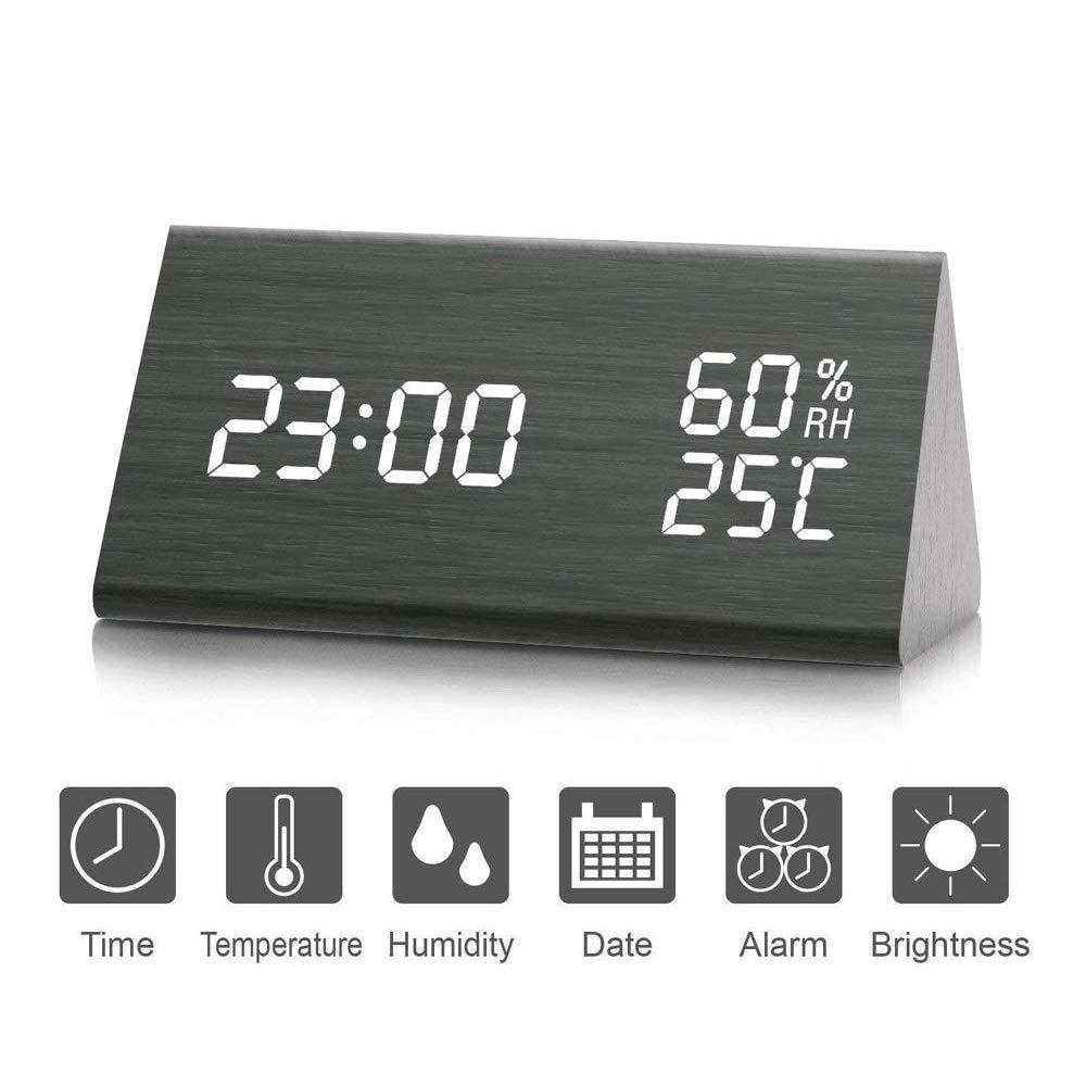 Reloj de Alarma Digital, Salón creativa moderna y simple reloj LED Digital de Triángulo madera