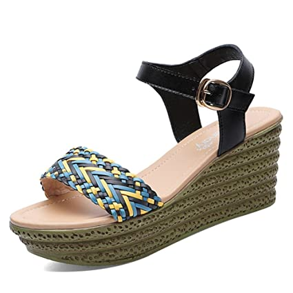 0b1585386b95 Women s Shoes PU Spring Summer Shoes Sandals Wedge Heel Waterproof Buckle  for Office   Vocational