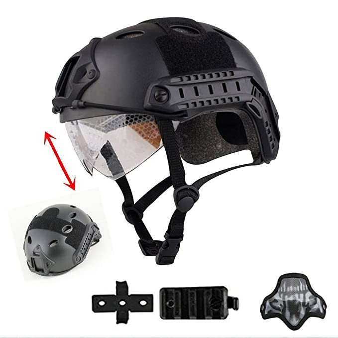 iMeshbean Multifunctional Tactical Helmet,Airsoft Half mask Version Suprise As a Gift(Black)