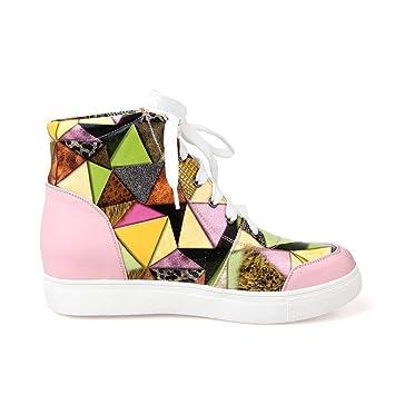 HRN Zapatos de Mujer Zapatos de Cuero con Top-Top de Fondo Plano y ...