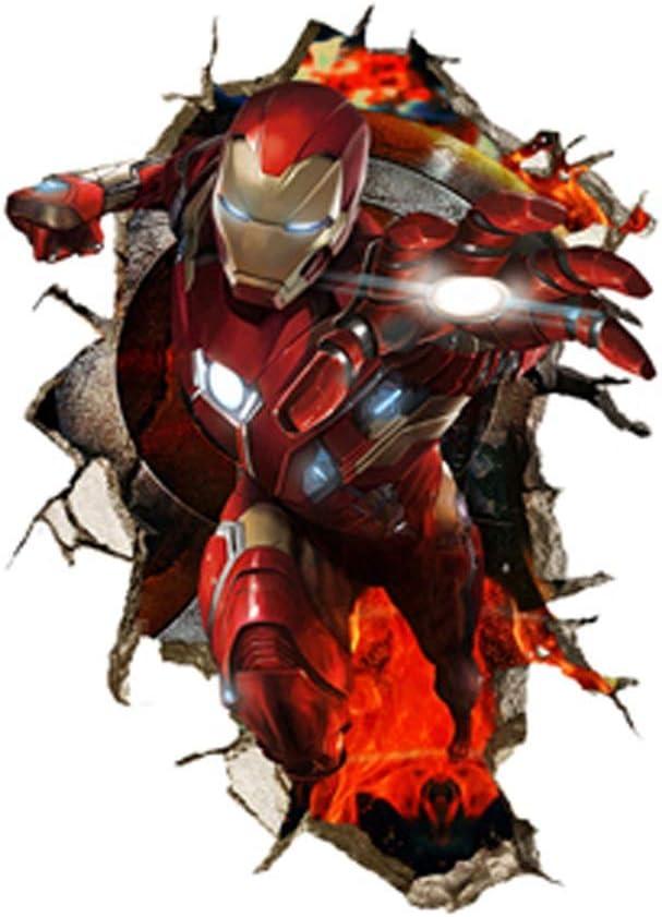 Pared quebrada de 3D tridimensional Efecto Marvel Iron Man adhesivos de pared de fondo de pantalla, for los niños del dormitorio del hogar escuela de la sala de estar del sitio del bebé del regalo de