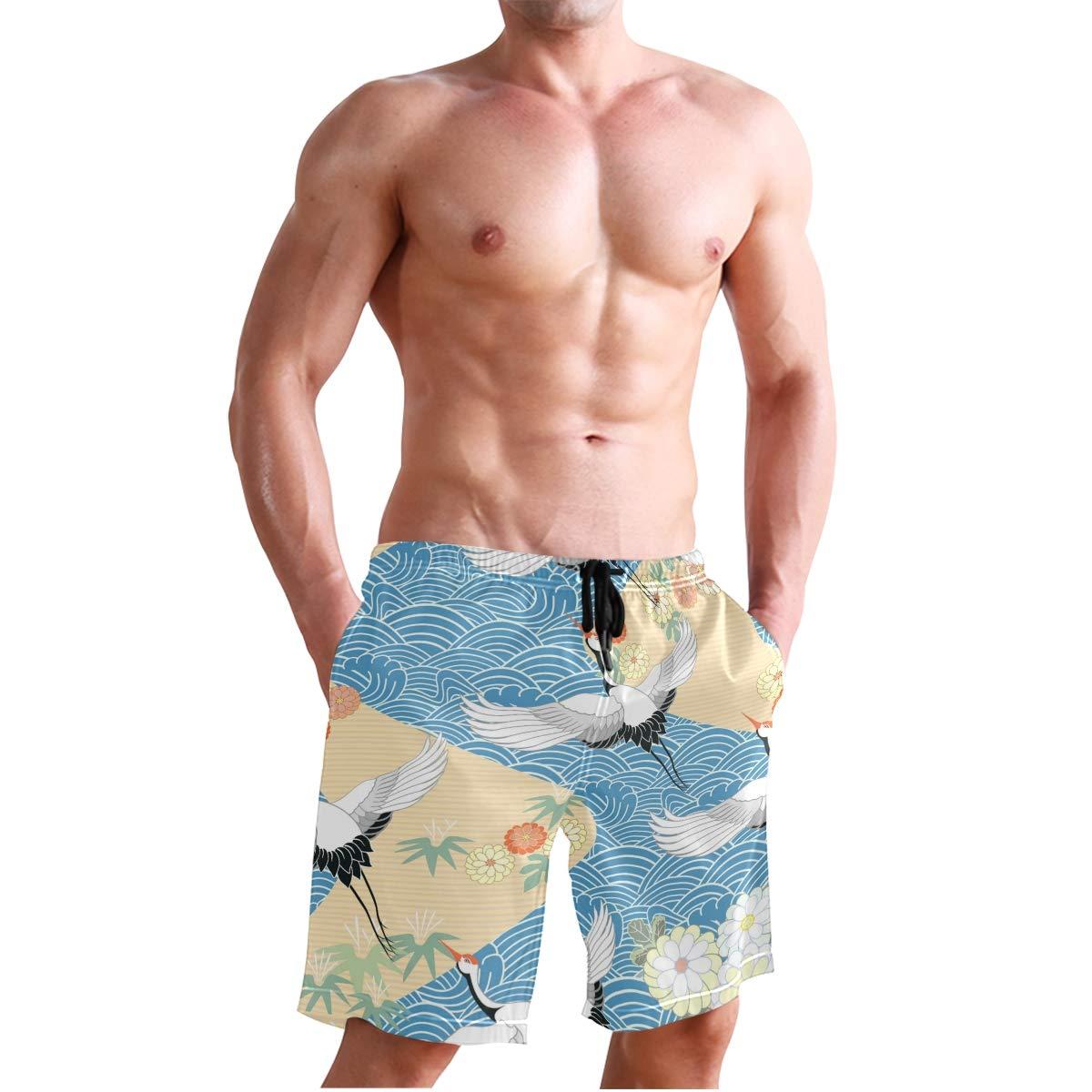 KUWT Mens Swim Trunks Japanese Wave Flower Crane Quick Dry Beach Shorts Summer Surf Board Shorts