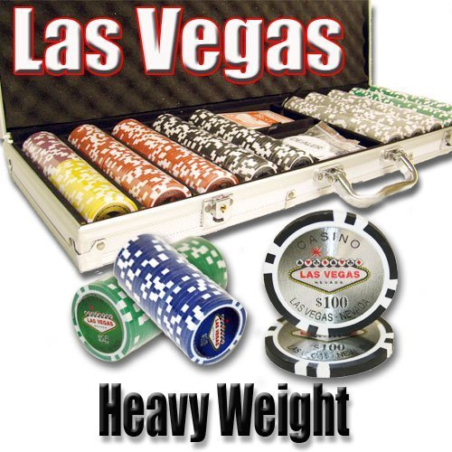 500 Las Vegas Poker Chip Set 14 Gram Heavy Weighted Poker Chips ()