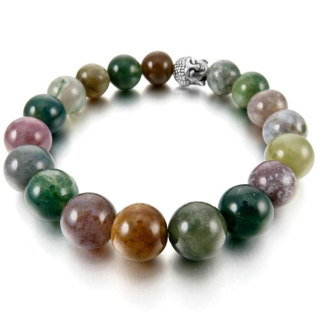 Epinki Men Womens 10mm 12mm Bracelet Energy Stone Green Silver India Indian Agate Buddha Mala Beads