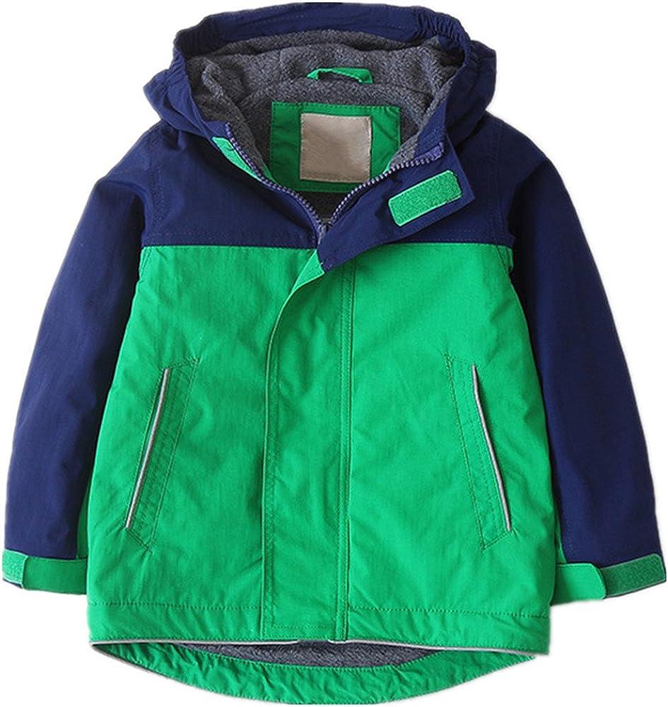 ZPW Kids Boys Color Block Hooded Rain Jacket with Fleece Lining