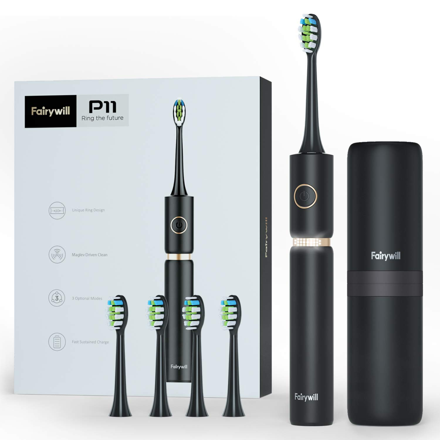 Sonic Whitening Electric Toothbrush – Travel Rechargeable Toohthbrush for Adults, 62,000 VPC Turbo Clean Fairywill P11 Plus in Black